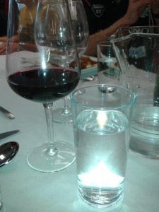wine water at table at brighton cookery school