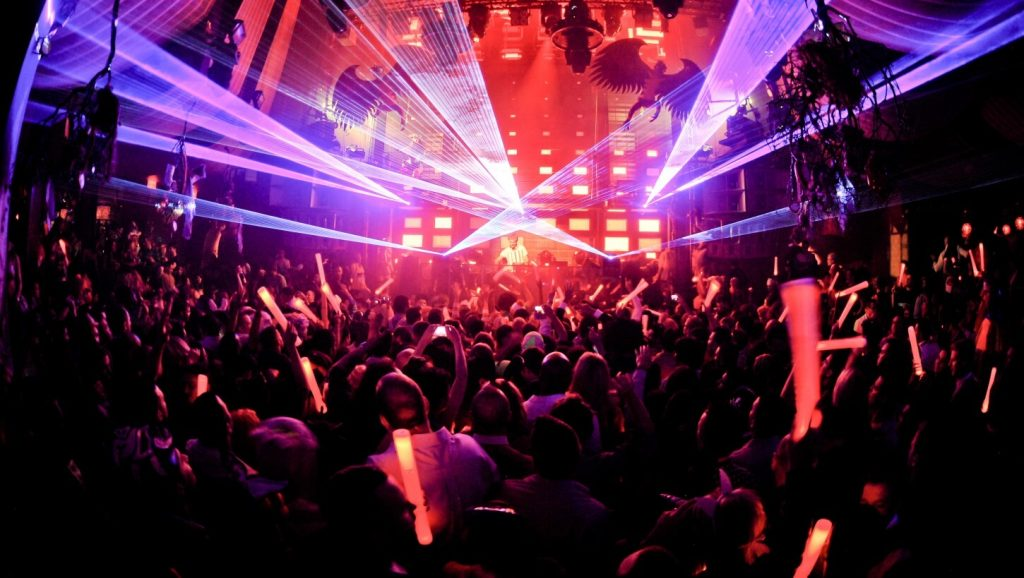 clubbing scene with disco lights
